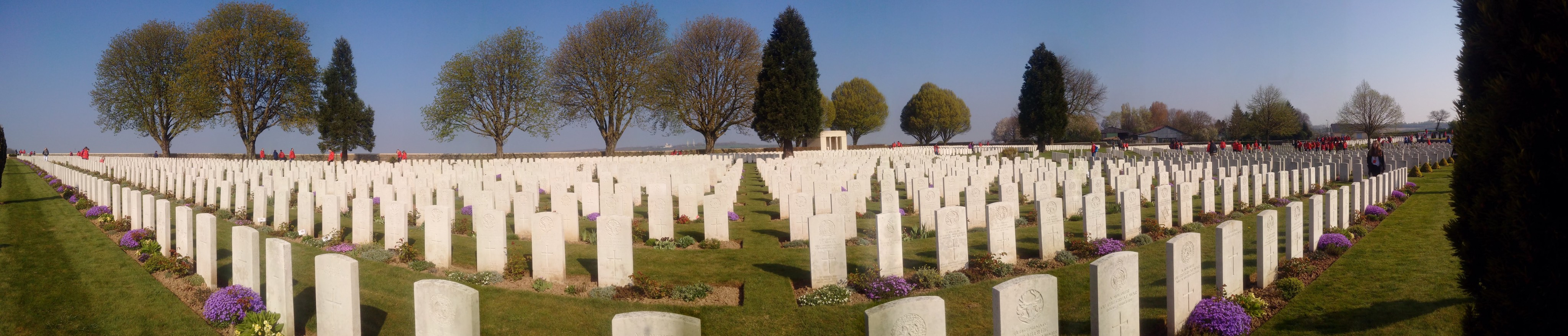 Panorama of the white headstones in he Cabaret Rouge cemetery in France.