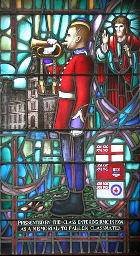 Memorial window at RMC from the Class of 1934 portraying an OCdt bugler