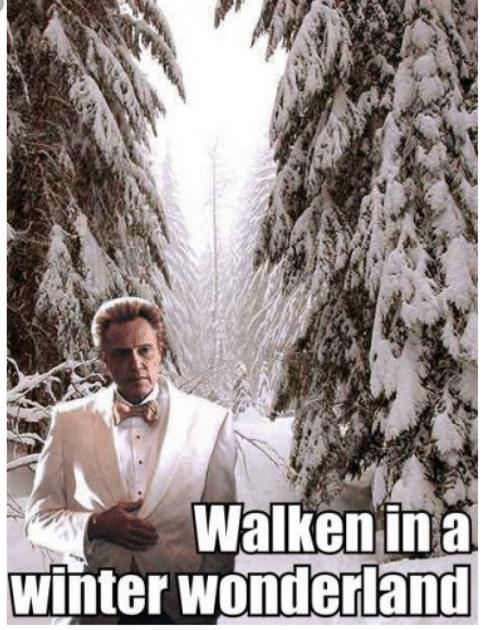 """""""Walking in a Winter Wonderland"""" meme of Christopher Walken in the woods in a tuxedo."""